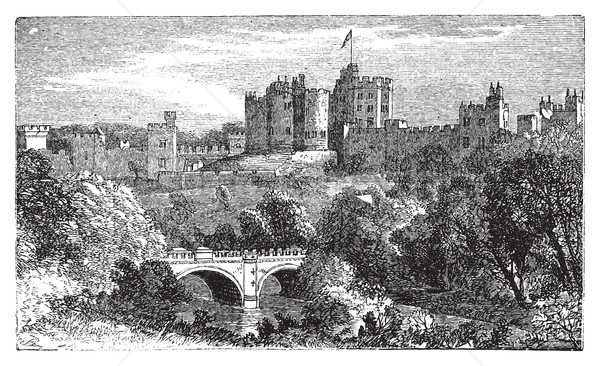 Alnwick Castle, in Alnwick, Northumberland County. 1890 vintage  Stock photo © Morphart