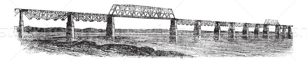 Viaduct Bridge at Louisville, Kentucky, Ohio, USA, vintage engra Stock photo © Morphart