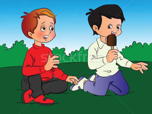 Vector of boy teasing friend for ice cream. Stock photo © Morphart