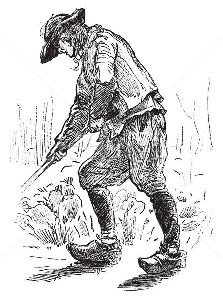 Peasant Breton, vintage engraving. Stock photo © Morphart