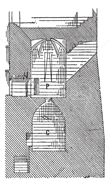 Prison, castle of Pierrefonds, vintage engraving. Stock photo © Morphart