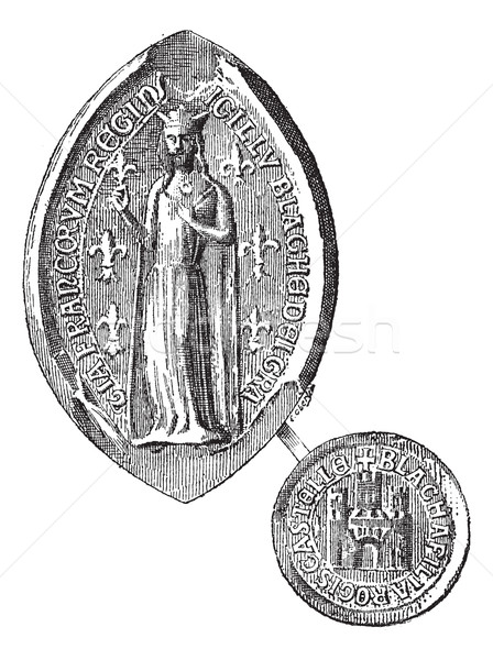 Seal against seal of Blanche of Castile, vintage engraving. Stock photo © Morphart