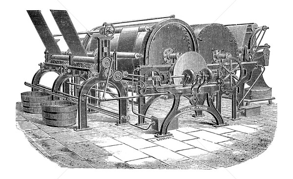 Papír gép klasszikus vésés gravírozott illusztráció Stock fotó © Morphart