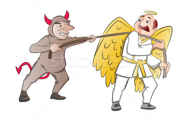 Tug-of-War Between a Devil and an Angel, illustration Stock photo © Morphart