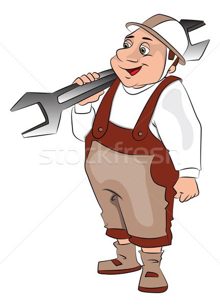 Vector of fat repairman carrying a spanner. Stock photo © Morphart