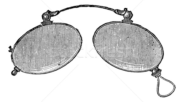 Glasses - ordinary nose clip, vintage engraving. Stock photo © Morphart
