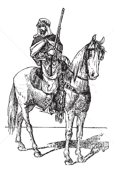 Spahi with weapon on horse, vintage engraving. Stock photo © Morphart