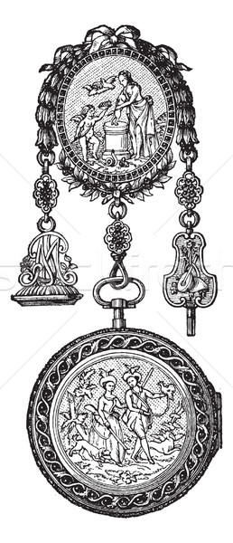 Chatelaine watch vintage engraving Stock photo © Morphart