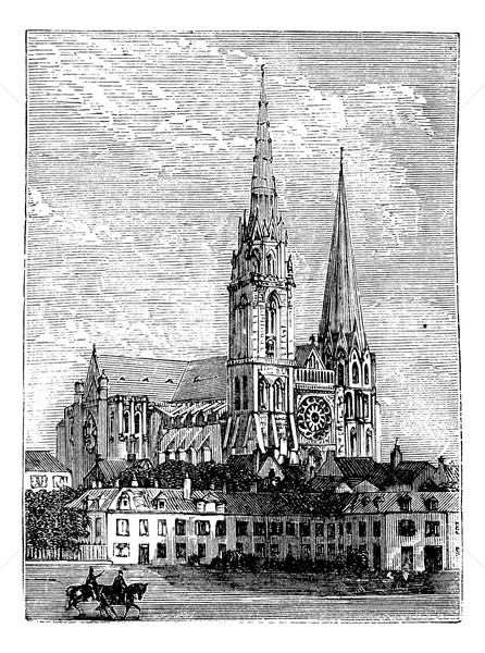 Chartres Cathedral, in Chartres, France, during the 1890s, vinta Stock photo © Morphart