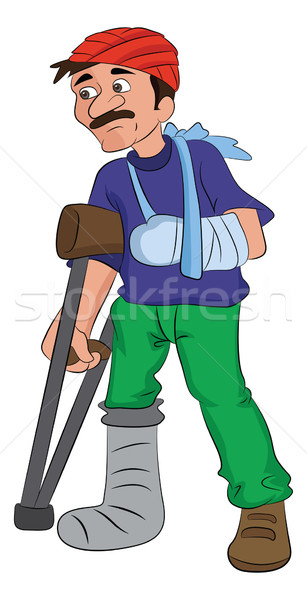Man with an Injured Head Arm and Leg, illustration Stock photo © Morphart