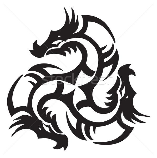 Dragon tatouage design vintage gravure gravé Photo stock © Morphart