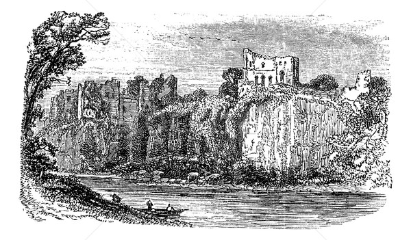 Chepstow Castle, in Monmouthshire, Wales, during the 1890s, vint Stock photo © Morphart