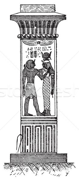 Egyptische pijler vintage gegraveerd illustratie Stockfoto © Morphart