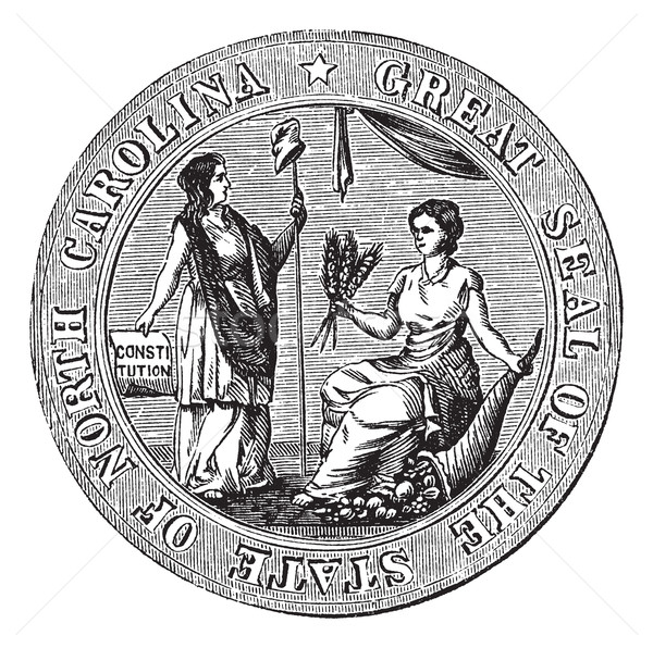 Great seal or hallmark of North Carolina vintage engraving Stock photo © Morphart