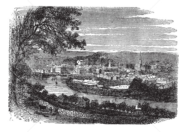 Norwich in Connecticut, USA, vintage engraved illustration Stock photo © Morphart