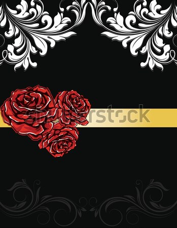 Hochzeitseinladung Karte Rosen Baum Sommer Malerei Stock foto © Morphart