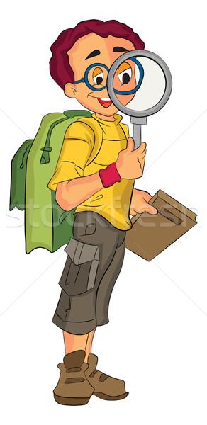 男 探險者 插圖 年輕 男子 快樂 商業照片 © Morphart