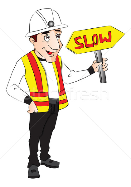 Vector of construction worker holding slow sign. Stock photo © Morphart