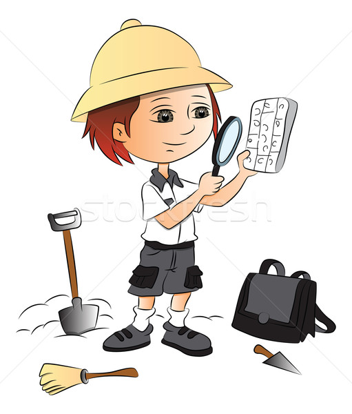 Vector of boy using magnifying glass at construction site. Stock photo © Morphart