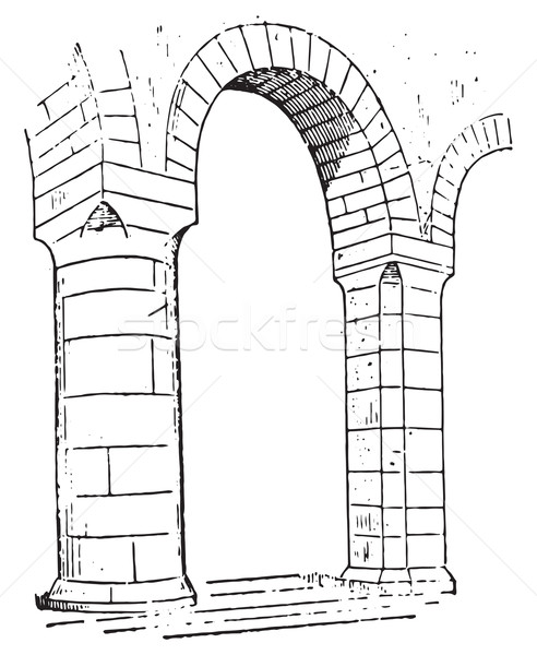 Pillar of Church of lons-le-Saunier, vintage engraving. Stock photo © Morphart
