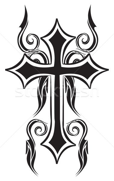Tattoo design of christian cross, vintage engraving. Stock photo © Morphart