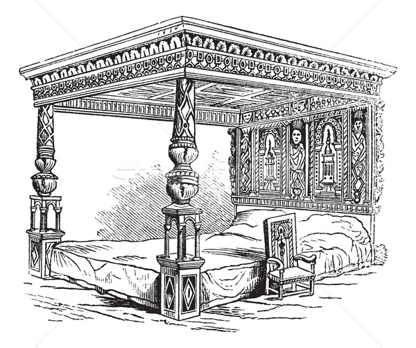 Great Bed of Ware, vintage engraving Stock photo © Morphart