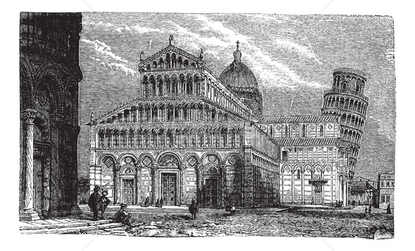 Leaning Tower, cathedral and baptistery of Pisa, vintage engravi Stock photo © Morphart