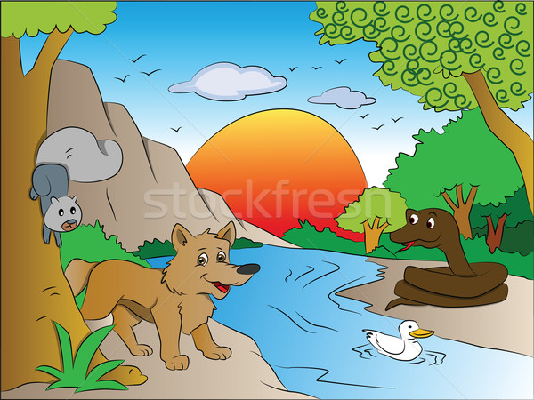 Stock photo: Vector of squirrel and fox watching snake on other side of lake.