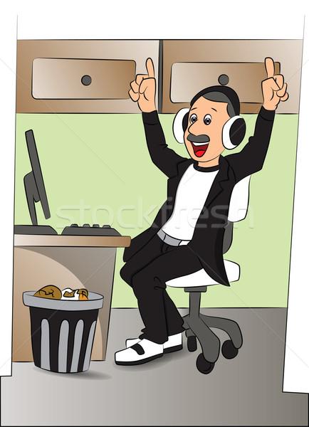 Foto stock: Vetor · homem · ouvir · música · fones · de · ouvido · escritório · feliz