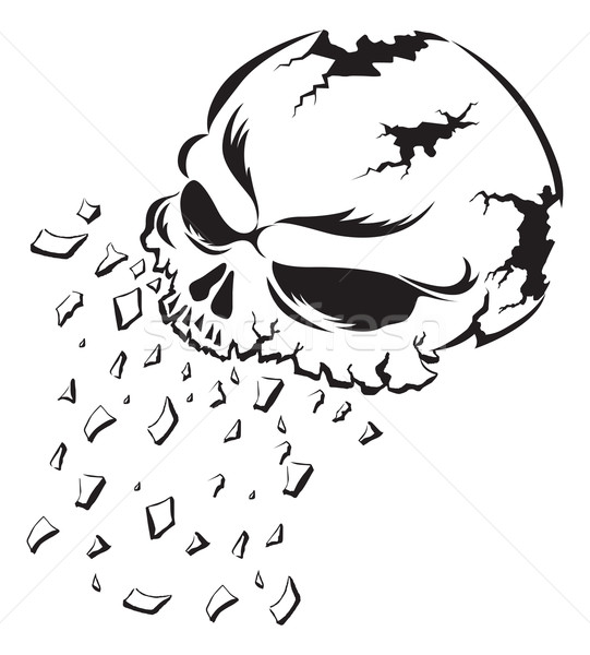 Shattering human skull tattoo, vintage engraving. Stock photo © Morphart