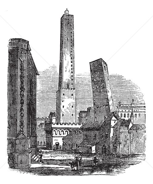 Kettő középkori tornyok Olaszország klasszikus vésés Stock fotó © Morphart