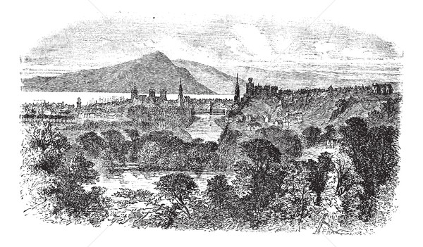 Stock photo: Inverness in Scotland vintage engraving