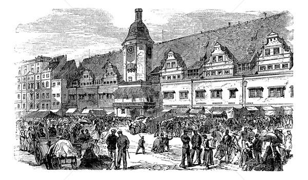 город зале рынке место Германия Vintage Сток-фото © Morphart