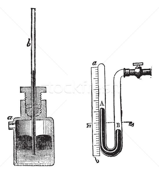 Manometer vintage engraving Stock photo © Morphart
