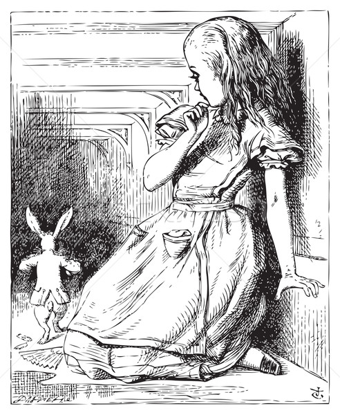 Alice grown big looking at the White Rabbit returning, splendidl Stock photo © Morphart