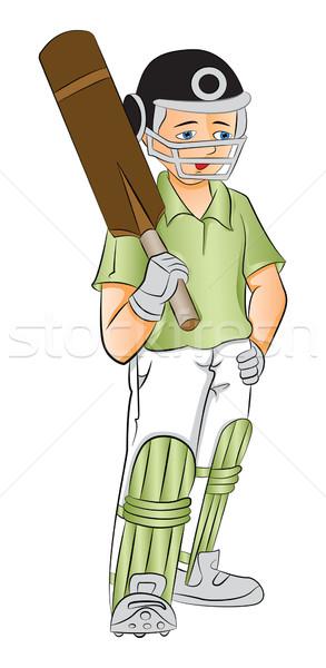 ストックフォト: ベクトル · 小さな · クリケット · バット · 手
