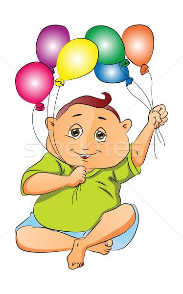 Menino jogar balões ilustração crianças criança Foto stock © Morphart