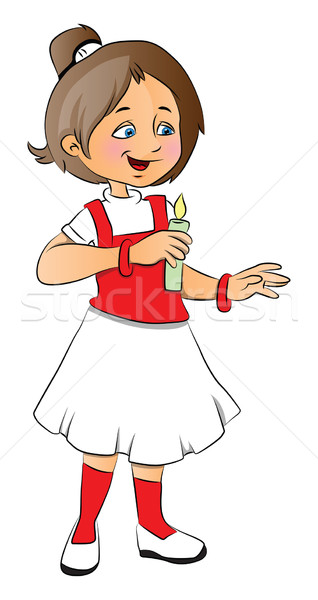 Vector of a girl holding lit candle. Stock photo © Morphart