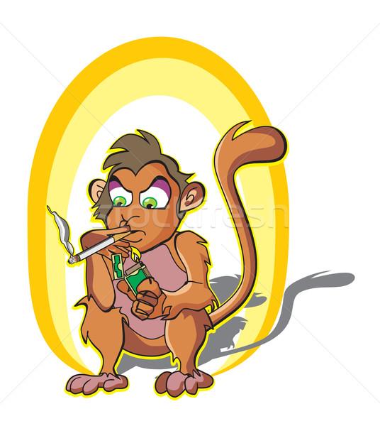 Monkey smoking, illustration Stock photo © Morphart