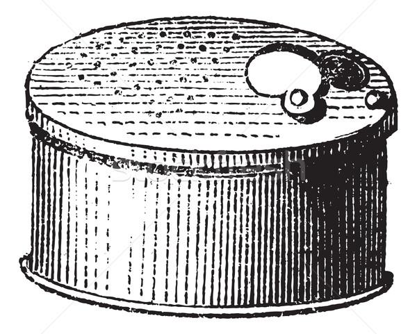 Fig. 65. Fishing gear, Cricket box, vintage engraving. Stock photo © Morphart