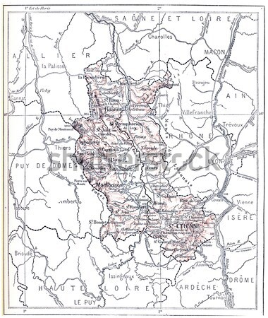 Map of Department of Saone-et-Loire vintage engraving Stock photo © Morphart