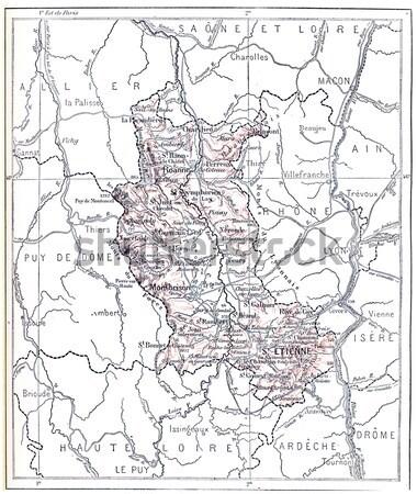 Mapa departamento vintage edad grabado Foto stock © Morphart