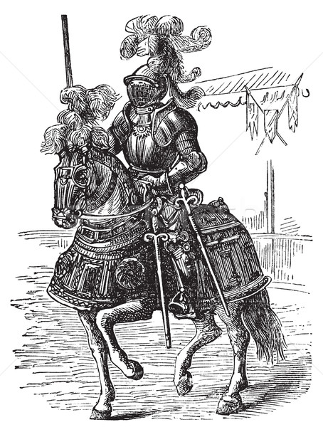 Stock photo: Ironclad full bodied armored horse and rider. Old engraving
