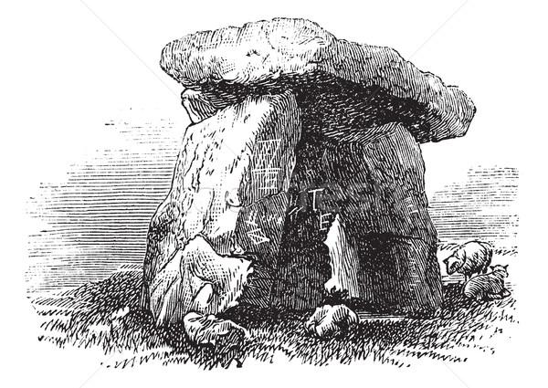Dolmen or Portal Tomb or Portal Grave, vintage engraving Stock photo © Morphart