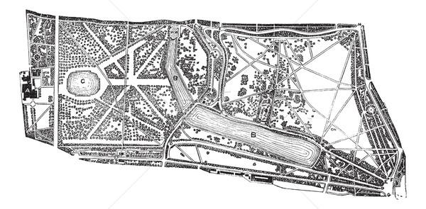 Hyde Park and Kensington Gardens environs vintage engraving Stock photo © Morphart