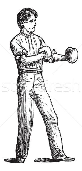 位置 ボクサー ヴィンテージ 彫刻 古い 刻ま ストックフォト © Morphart