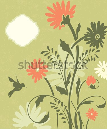 Green floral invitation card with place for text  Stock photo © Morphart