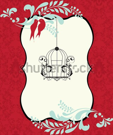 Invitation card on red damask background  Stock photo © Morphart