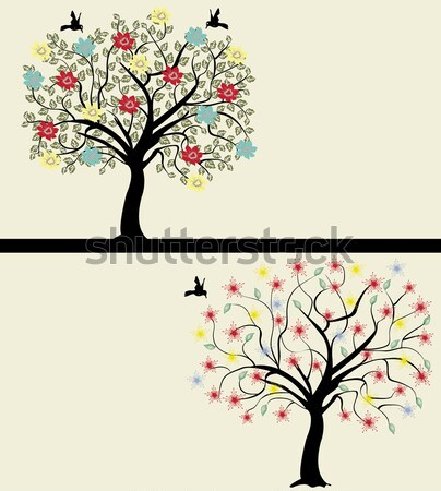Set of abstract tree silhouettes Stock photo © Morphart