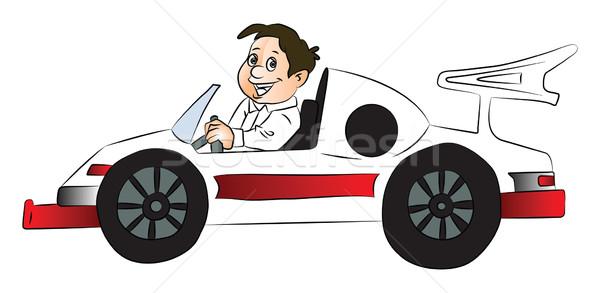 Vector of happy boy driving car. Stock photo © Morphart